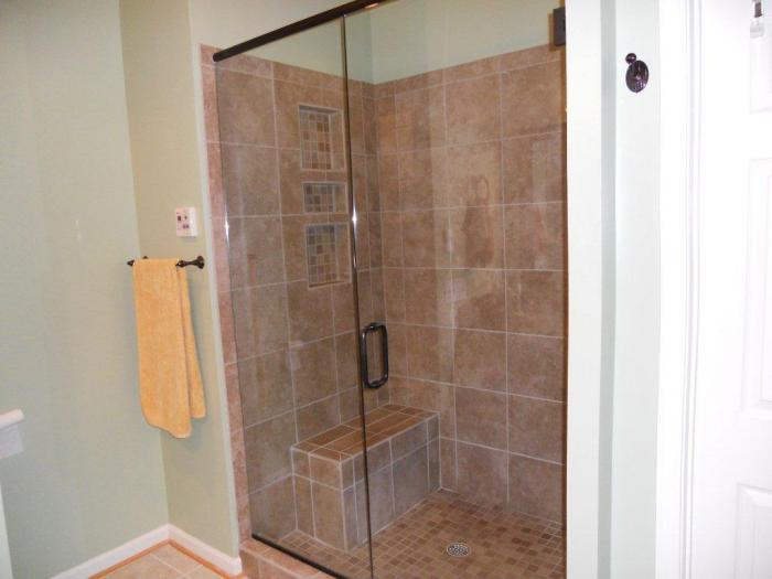 Photo gallery home improvement raleigh remodeling for Solid glass shower doors